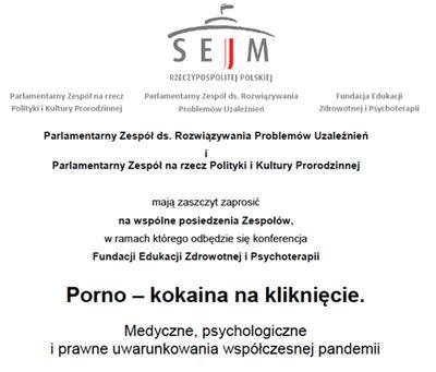 Konferencja 4 czerwca 2018 Porno-kokaina na klikniecie WARSZAWA